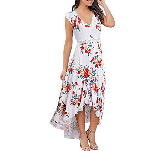 Aniywn Women Ruffle High Low Hem Midi Dress Sleeveless V Neck Print Summer Beach Holiday Dresses Beige