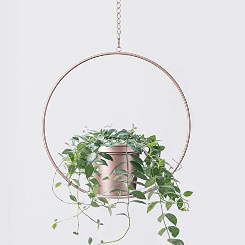 RISEON Boho Rose Gold Metal Plant Hanger,Metal Round Hanging Planter, Modern Planter, Mid Century Plant Holder, Minimalist Planter for Indoor Outdoor Home Decor