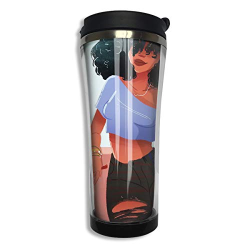 Mug African American (NEHomer Stainless Steel Coffee Mugs African American Black Women with Funny Dog Travel Coffee Thermal Mug 14.8 Oz (420ml) Insulated Cup Perfect for Travel, Camping, Hiking, The Beach and Sports)