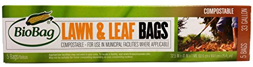 BioBag Premium Compostable Lawn & Leaf Yard Waste Bags, 33 Gallon, 60 Count