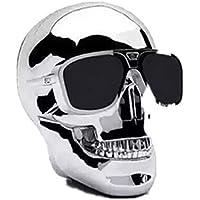 Generic Skull Head Shape Portable Wireless Bluetooth Speaker for Desktop PC/Laptop Notebook/Mobile Phone/MP3/MP4 Player-Silver