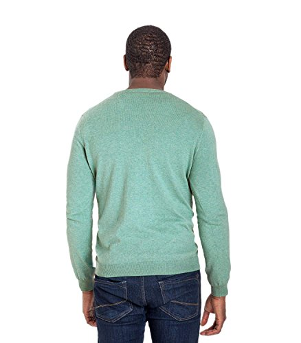 WoolOvers Pull à col V - Homme - Cachemire & coton Aquamarine, S