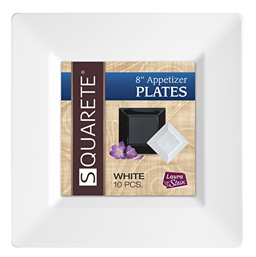 Squarete 8'' inch White Appetizer - Salad Square Party Plates Hard Plastic Elegant Disposable 10 Square Salad Plates Per Package Pack of 4 8' Salad Plate