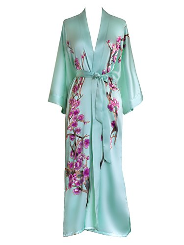 Old Shanghai Women's Silk Kimono Long Robe - Handpainted, Cherry Blossom Mist, One ()