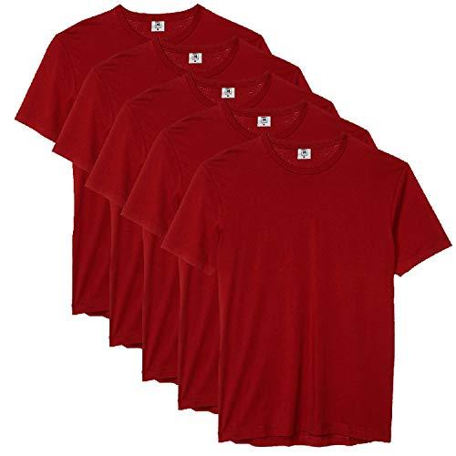Kit com 5 Camiseta Masculina Básica Algodão Premium (Vinho, GG)