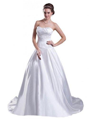 - Dearta Women's A-Line Sweetheart Court Train Wedding Dress US 18 White
