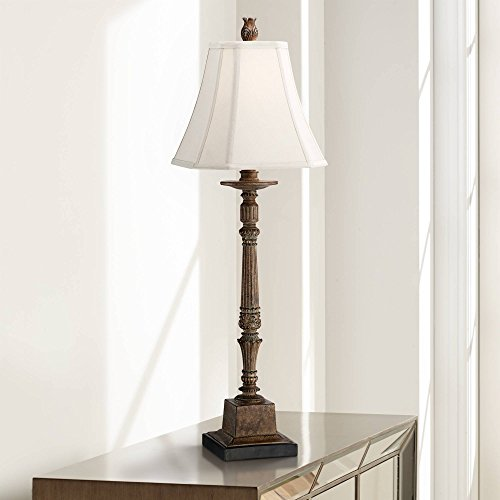 Thornewood Traditional Console Table Lamp Crackled Brown Candlestick Square Bell Shade for Living Room Family Bedroom Bedside - Regency Hill