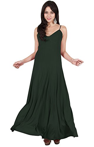 Viris Zamara Petite Womens Long Sexy V-Neck Sleeveless Spaghetti Strap Pleated Evening Cocktail Bridesmaid Wedding Party Flowy Formal Elegant Prom Gown Gowns Maxi Dress Dresses, Olive Green S 4-6