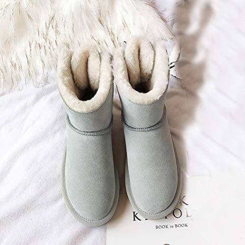 Fashion Forradas De Invierno Botas Vestir Gris Plataforma Otoño Nieve Mujer Annieshoe EcqaSnwB7B