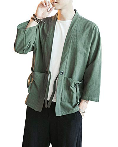 Kimono Japonés Hombre Robe Coat Manga 3/4 Mens Vintage Cloak Cotton Linen Blends Loose Fit Short Coat Jacket Cardigan Verde Del Ejército