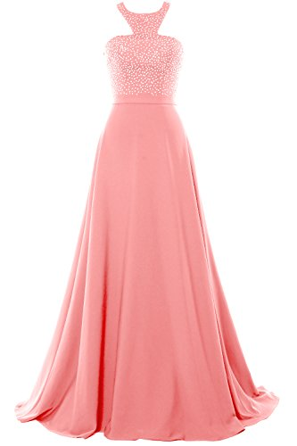 MACloth Women Halter O Neck Chiffon Long Prom Dress 2017 Formal Evening Gown Blush Pink
