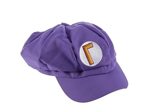 Super Mario Kart Hats: Waluigi Cap for Halloween Costume: Unisex Cosplay (Waluigi -