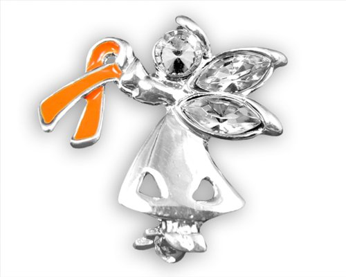 Fundraising For A Cause Multiple Sclerosis Awareness Orange Ribbon Pin - Angel by My Side (Retail) -