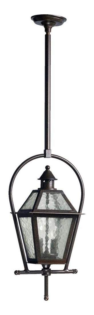 Two Light Oiled Bronze Clear Hammered Glass Hanging Lantern