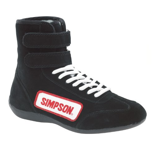 (Simpson Racing 28100BK The Hightop Black Size 10 SFI Approved Driving Shoes )
