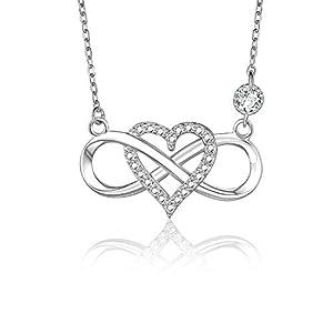 BlingGem Collier pour Femme en Argent 925/1000 avec Oxyde de Zirconium Rond Coeur Infini Amour Ensemble pour Toujours…
