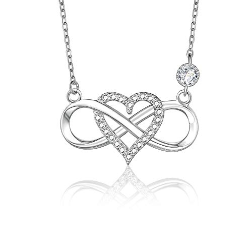 BlingGem Womens 925 Sterling Silver Infinity Love Necklace with Cubic Zirconia Diamond Heart Fine Jewelry Gift for Mother's Day Plated 18K White Gold (A-White Gold) (Plate Gold 18ct White)