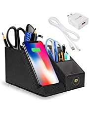 10 watts Wireless Fast Charger / QI Certified for I phone/Samsung with Desk Organizer /Compatible with I phone 11,Pro,XS,Max, XR ,X, 8Plus / Samsung S10/S9/S8/S7/Edge Plus/ Note 10/ 9 (Use QC 3 Adapter to maximize the Fast Charging feature of this product)