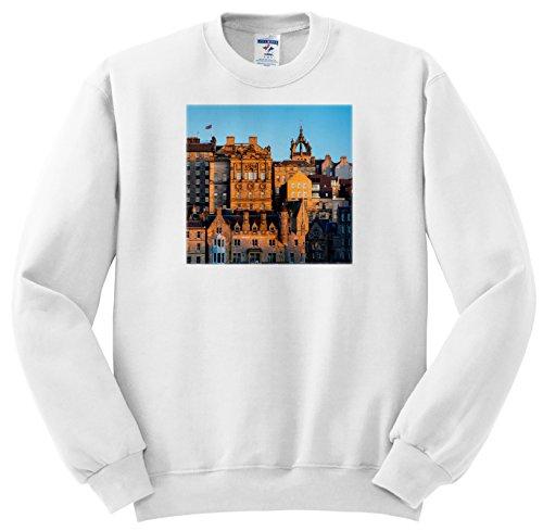 Danita Delimont - Scotland - Setting sunlight on the old buildings of Edinburgh, Scotland - Sweatshirts - Adult SweatShirt Large (ss_228074_3) Edinburgh 3 Light