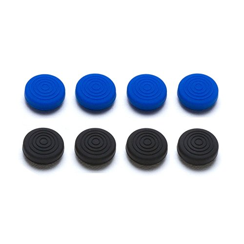 Snakebyte Control: Caps – 8x Thumb Grips for PlayStation 4 Controller / Gamer Pad (4x Black/ 4x Blue)