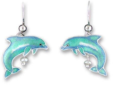 (Dolphin Sterling Silver and Enamel Earrings)