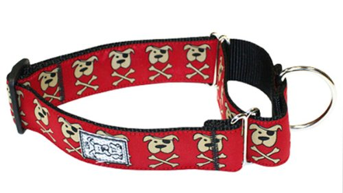 RC Pet Products 1-1/2-Inch All Webbing Martingale Dog Collar, Medium, Pirate Pooch