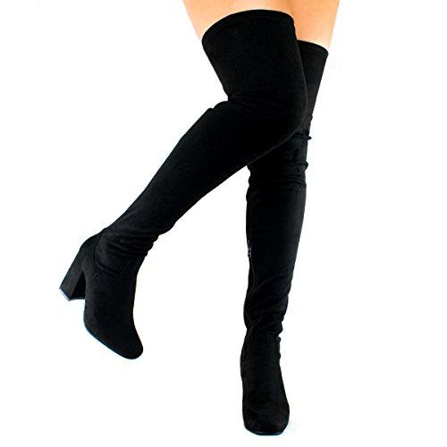 Premier Standard Damenmode Bequeme Vegane Wildleder Block Heel Slip On Oberschenkel Hohe Overknee Stiefel Premier Schwarz Su