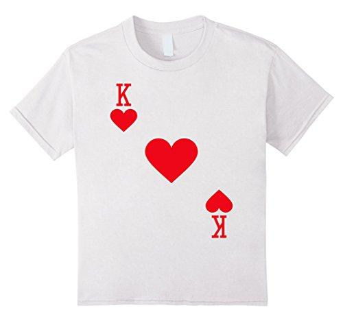 King Of Hearts Costume Kids (Kids King of Hearts Costume T-Shirt Halloween Deck of Cards 6 White)