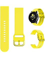 Fit for Garmin Forerunner 245 Music Bands Women Men/ Vivoactive 3 Music Watch Band, 20mm Quick Release Stylish Silicone Replacement Bands Bracelet Straps Wrist Bands for Forerunner 645 (Yellow)