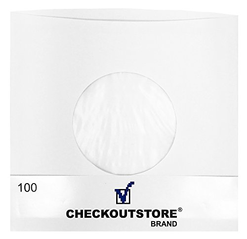 (100) CheckOutStore Paper Record Inner Sleeves With Hole for 7