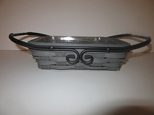Longaberger Artisan Small Server Basket W Wrought Iron Handles Pewter Grey ()