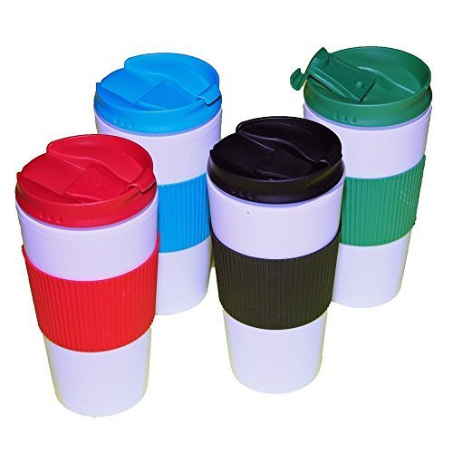Reusable Travel Mug Hot Cold Non Slip Grip Screw Lid Flip Open Cap Prevents Leaks and Spills comes 4 in a Pack assorted colors (Mug Textured Travel Plastic)