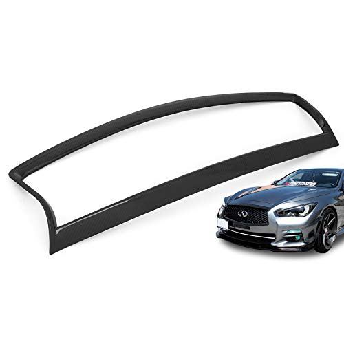 Trim Grille - Mophorn Grille Cover Carbon Fiber Front Grille Trim Cover for Infiniti Q50 S UV Resist Stylish Carbon Fiber
