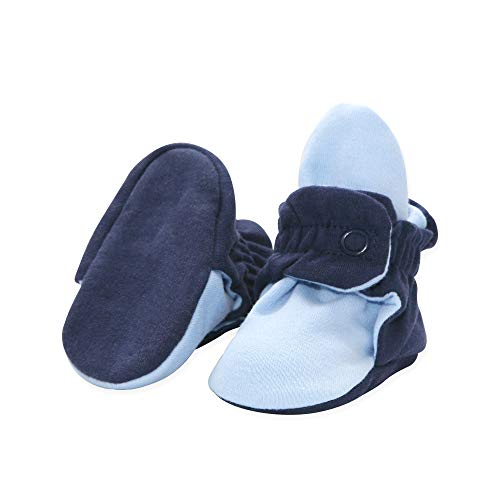 Infant Navy Blue Light - Zutano Organic Cotton Baby Booties, TRUE NAVY/LIGHT BLUE, 6M