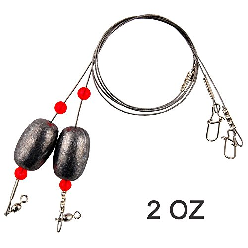 (Fishing Egg Sinker Weight Rigs 4pcs Ready Rigs with Lead Sinker Fishing Swivel and Snap Connector Stainless Steel Fishing Leader Wire for Trout Flounder and Bottom)