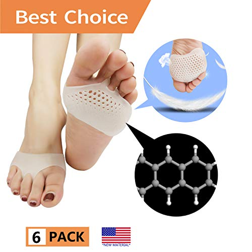 Metatarsal Pads, Ball of Foot Cushion (6 PCS) *New Material* Forefoot Pads, Breathable & Soft Gel, Best for Diabetic Feet, Callus, Blisters, Forefoot Pain. (White)