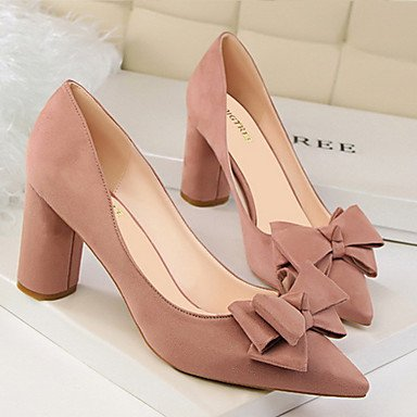 Heel Bowknot 7 Office Summer CN37 5 5 amp; 5 FYios Career Spring Chunky Fall Comfort Leatherette Dress UK4 Heels EU37 US6 71wqPpS