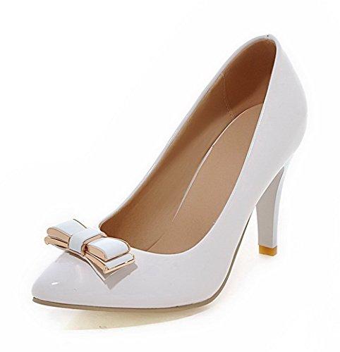 Femme Blanc Agoolar Pointu Chaussures Tire Unie Couleur Légeres Verni Stylet zqqwgpxTd