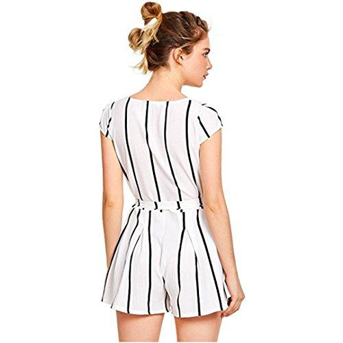 Adeshop casual Mujeres con pantalones combinados cortos para rayas Verano a cintur traje fr4xRf