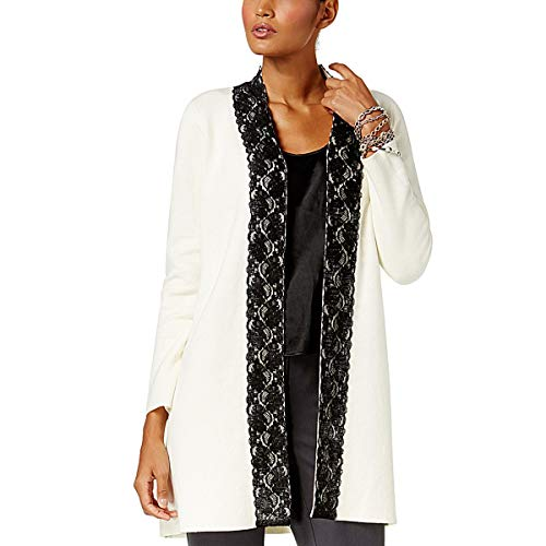 Alfani Womens Lace Trim Long Sleeves Cardigan Sweater Ivory L