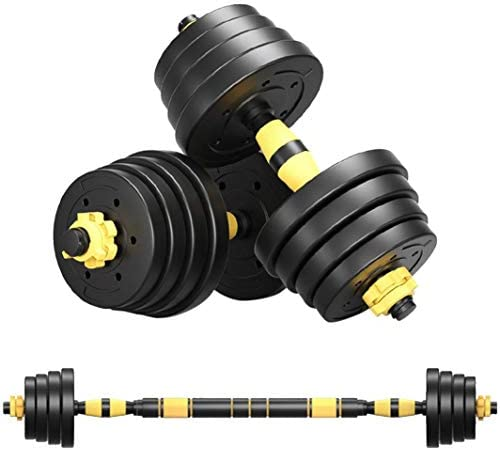 LAOGANDIE Adjustable Dumbbells Set, Home Fitness Equipment for Men and Women Gym Work Out Exercise Training with Connecting Rod Used as Barbells (1 Pair)