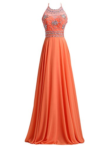 Chiffon Beaded Long Halter Dress - 5