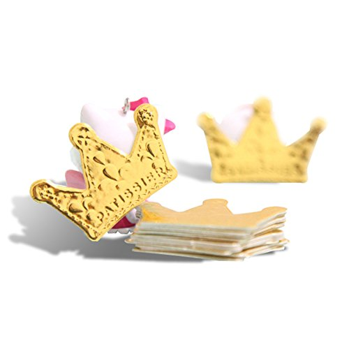 Yatim 100 Pcs Gold Glitter Crown Card Cake