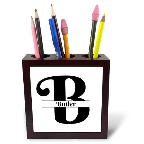 3dRose BrooklynMeme Monograms - Bold Script Monogram B Butler - 5 inch Tile Pen Holder ()