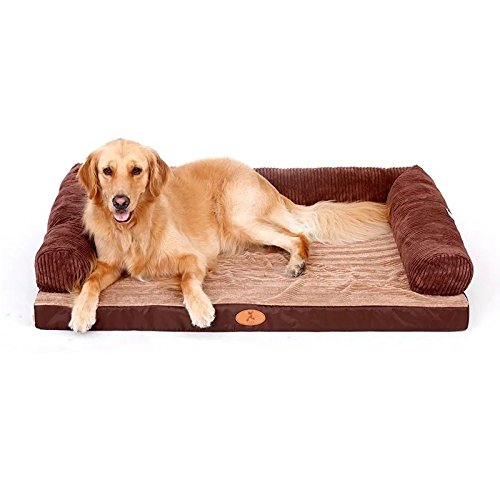 S 80X60CM STAZSX Dog's Nest golden Retriever Dog Mat Washable Teddy Dog Bed Four Seasons Small Medium Large Dog Pet Products Bite-resistant, Brown S 80X60CM