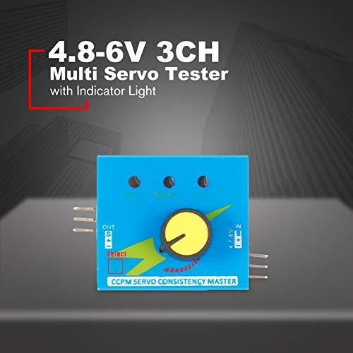 FinukGo Multi Servo Tester 4.8-6V con luz indicadora 3CH ECS Control de Velocidad de consistencia Potencia CCPM Master Checker RC Drone Partes Azul
