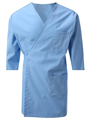 (7 Encounter Unisex Multifunctional 3/4 Sleeves Wrap Smock Chest Side Pockets Light Blue Size L/XL)