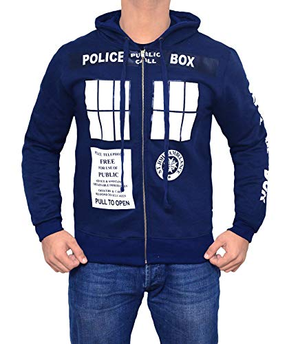 Doctor Who Adult Hoodie - Mens Adults Cotton Dr Who Navy Zip Up Hoodie (Small)