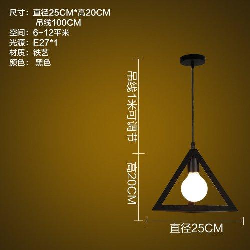 LuckyLibre Abat-jour fer Pendentif Simple chambre à coucher Cuisine Restaurant Bar Cafe d'éclairage Lampe de couloir lustre,Triangle (noir) avec source de lumière LED