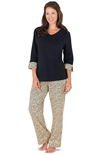 PajamaGram PJs Women Soft Cotton - Leopard Pajamas for Women, Black, M, 8-10